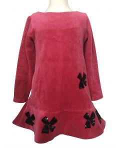 Long sleeved fuschia dress with embellishments